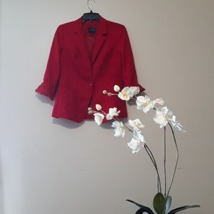 The Limited  Red Textured Structure Casual Blazer